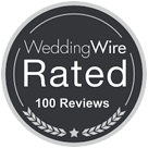 Wedding Wire Rated 100 reviews icon from Presidential Catering.